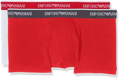Emporio Armani Herren Retroshorts 1112107p717 ,2er Pack Mehrfarbig (BIANCO/ROSSO 01010)