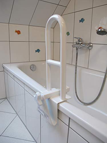Royal Beach Badewannengriff, Einstiegshilfe Badewanne, Geländer für Wanne, weiss, stabile Metallausführung mit Gummiüberzug