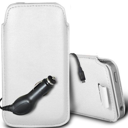 Brun/Brown - Samsung Galaxy V Plus Housse deuxième peau et étui de protection en cuir PU de qualité supérieure à cordon avec stylet tactile par Gadget Giant® Blanc/White & Car Charger