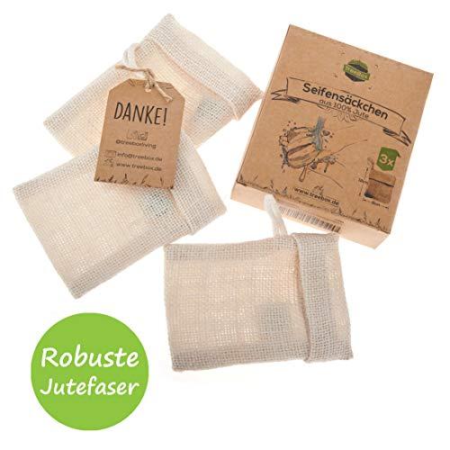 TreeBox Zero Waste Seifensäckchen aus Jute mit Kordel aus Baumwolle - 3er Set - Besonders praktischer Klappverschluss - Perfekt für Seifen und Seifenreste