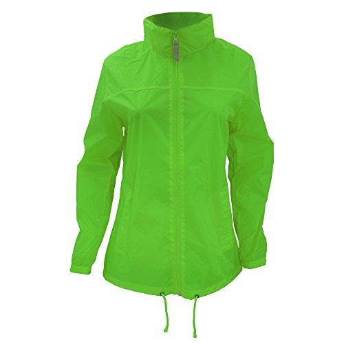 B&C Damen Regenmantel Womens Full Zip Siroco, Grün (Real Green 000), 36 (Herstellergröße: Small)