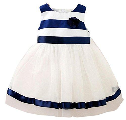 WOCACHI 0-24 Monate Baby Mädchen Toddler Kids Gestreiftes bedrucktes ärmelloses O-Ausschnitt geschichtetes Tüll Ballettröckchen Prinzessin Kleider (Age:0-6M, Navy Blue)