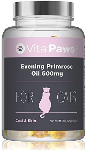 VitaPawsTM Nachtkerzenöl 500mg für Katzen - 90 Softgel-Kapseln - trägt der Instandhaltung gesunder Haut und gesunden Fells bei - 500 Mg Softgel Kapseln