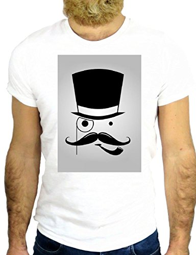 T SHIRT Z1110 COOL NICE VINTAGE ROCK MOUSTACHE PIPE CYLINDER HAT AMERICA USA GGG24 BIANCA - WHITE