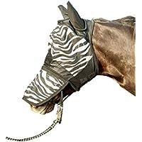 HKM Mosquitera Máscara – de cebra con nüstern Protección, blanco / negro