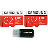 32GB Samsung Evo Plus Micro (2 Pack) SDHC Class 10 UHS-1 32G Memory Card (MB-MC32) With Everything But Stromboli (TM) Card Reader