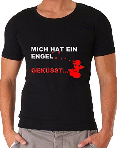 Blickfang Mich Hat ein Engel GEKÜSST Apres Ski Malle Sprücheshirt Partyshirt S-3XL (XL)