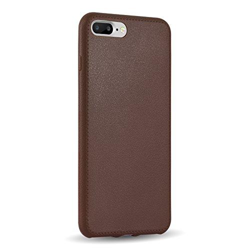 iPhone 7 Hülle, JAMMYLIZARD Ultradünnes Jelly Rückenschutz-Cover mit Nähten aus Silikon für iPhone 7, WEINROT BRAUN