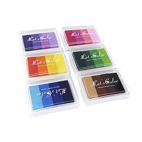 6 Stück Stempelkissen Set,Tinte Pads Stempel Stamp Pad, Stempelfarbe Waschbar Fingerabdruck Set fuer Papier Handwerk Stoff, Fingerabdruck,Scrapbook, Malerei,Mehrfarbige