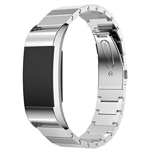 Für Fitbit Charge 2 Armband, AISPORTS Fitbit Charge 2 Uhrenarmband Edelstahl Metall Smart Watch Ersatzarmband Faltschließe Handschlaufe für Fitbit Charge 2 Fitness Zubehör - Silber