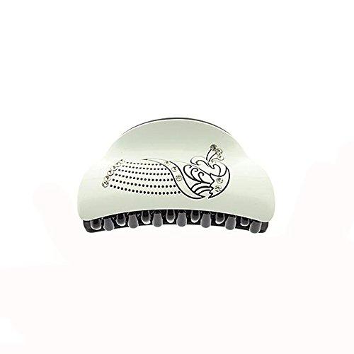 Pince Crabe A Cheveux - Plastique 8 cm - Blanc & Noir - Strass - Arabesque