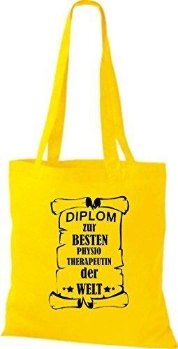 shirtstown Borsa di stoffa DIPLOM A MIGLIOR physiotherapeutin DEL MONDO giallo dorato