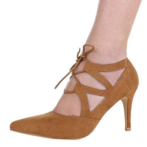 Ital-Design - Scarpe con Tacco Donna Marrone (Cammello)