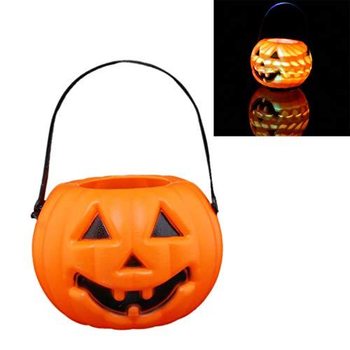 Mobestech 6pcs Halloween-Kürbis Laterne batteriebetriebene LED-Kürbislicht glühenden Trick oder Süßigkeiten Eimer (Trick Oder Behandeln Kostüm)