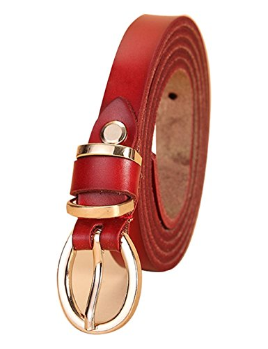 Womens Buff Leather Belt Center Bar Buckle Waist Strap1.4cm 001Red