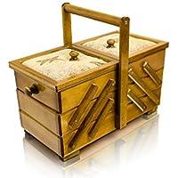 Caja de costura de madera con alfiletero (36 cm), color madera natural