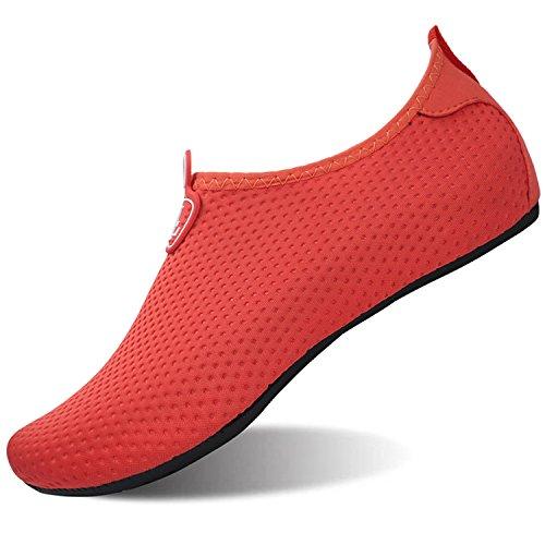 L-RUN Herren Wassergymnastik Schuhe für Beach Pool Swim Red XXL (B: 9-9,5, M: 9-9,5)