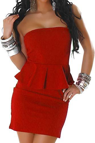 Jela London Damen Peplum Schößchen Bandeau Mini-Kleid Stretch Schulterfrei Musterung Party Cocktail Trägerlos, Rot ML 34 36 - Cocktail-party-kleid