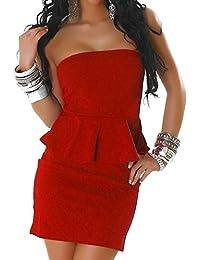 aca4579587144c Jela London Damen Peplum Schößchen Bandeau Mini-Kleid Sommerkleid Cocktail  Club trägerlos einfarbig texturiert…