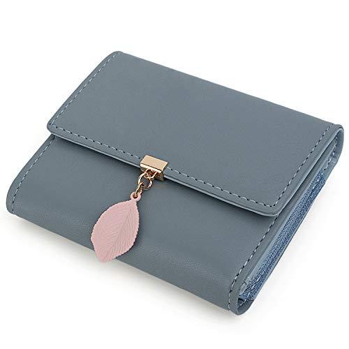Damen Geldbörse Blatt Anhänger UTO PU Leder Kleine Brieftasche 5 Kartensteckplätze 1 ID Fenster Kartenhalter Organizer Mädchen Reißverschluss Grau Blau -