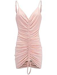 87ac4897be6a YYD  Quotidien Robe Décontractée Femme Couleur Pure V-Cou Drawstring Slim  Sexy Sling Dress 4…