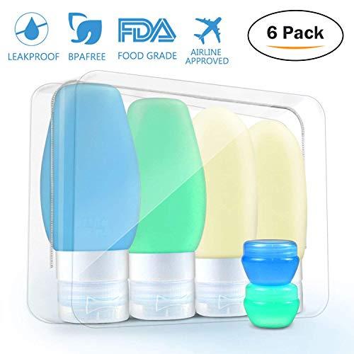 Silikon Reiseflaschen Set - 6 Teile Reise Flaschen auslaufsichere Fläschchen mit Saugnapf Plus...
