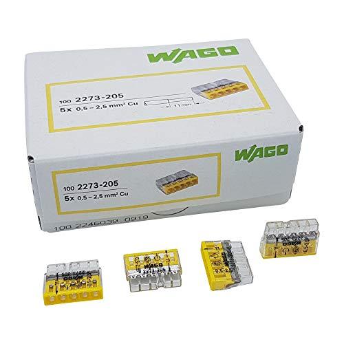 50 Stück Wago 2273-205 COMPACT-Verbindungsdosenklemme Ø 0,5-2,5 mm², 5-polig, transparent/gelb