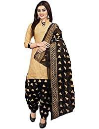 Om Women's Cotton Unstitched Salwar Suit (OTC_710, Beige and Black, Free Size)