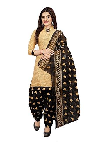Om Women's Cotton Unstitched Salwar Suit (OTC_710, Beige and Black, Free Size)