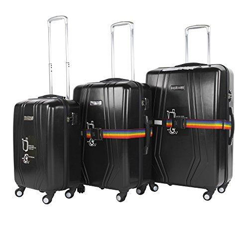 3-tlg. leichtes Reisekoffer-Set, 4-Rollen-Trolley, Hartschale mit Teleskopgriffen, platzsparend, 3 Farben (Schwarz)