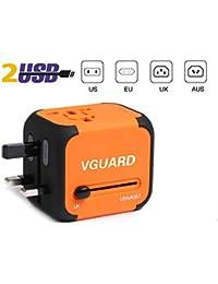 VGUARD Voyage Adaptateur International et 2 USB (5V 2.4A) Adapteur Chargeur Prise Anglaise pour Americaine UK AUS EU 150 Pays [Incluant Un Câble Lightning & 2 en 1 Câble Micro USB & Type C] - Orange