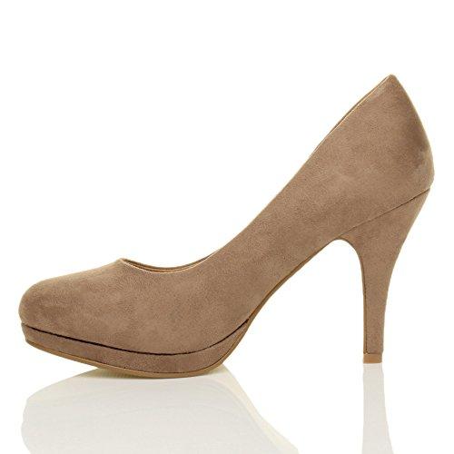 Donna tacco alto medio lavoro sera festa semplice décolleté scarpe taglia Scamosciata grigio talpa