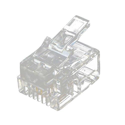 Nrpfell 20 Stueck 6P2C 2 Stifte RJ11 Modular Stecker Netzwerkkabel Steckverbinder klar -