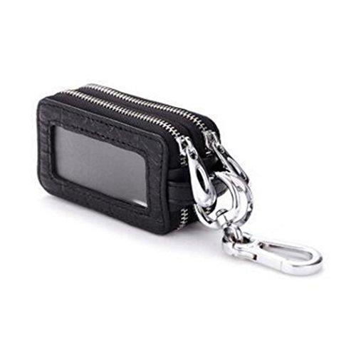 edfamily Echtes Leder Reißverschluss Schlüsselmäppchen Schlüsselanhänger KFZ Schlüssel Halter Tasche Etui (Schwarz)