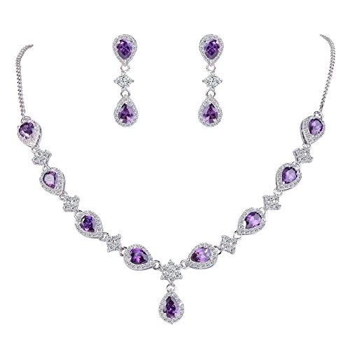 ckset Hochzeit Braut Zirkonia Teardrop Blume Braut V-Halskette Ohrringe Set Amethyst-Lila Silber-Ton ()