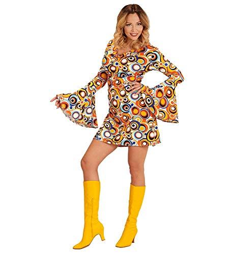 Queen Jahre Disco Kostüm 70er - shoperama 70er Jahre Retro Kleid Bubbles Langarm Disco-Queen Damen-Kostüm Groovy Siebziger 70s Schlager Festival, Größe:M