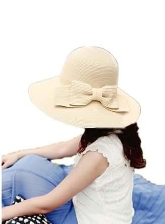 Autek Mesdames arc surdimensionné pliage chapeau de plage grand chapeau de paille à larges bords (436) (beige)
