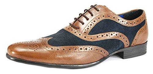 Red Tape richelieu à lacets Smart Casual Chaussures en cuir marron bleu marine Brun Clair en daim noir Tan / Navy