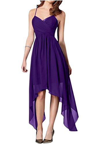 Milano Bride Einfach Schokolade Asymmetrisch Abendkleider Partykleider Promkleider Bodenlang Abiballkleider Violett