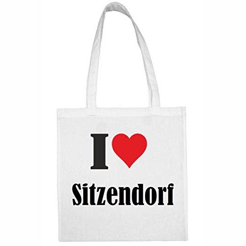 """Tasche""""I Love Sitzendorf""""Größe""""38x42""""Farbe""""Weiss""""Druck""""Schwarz"""