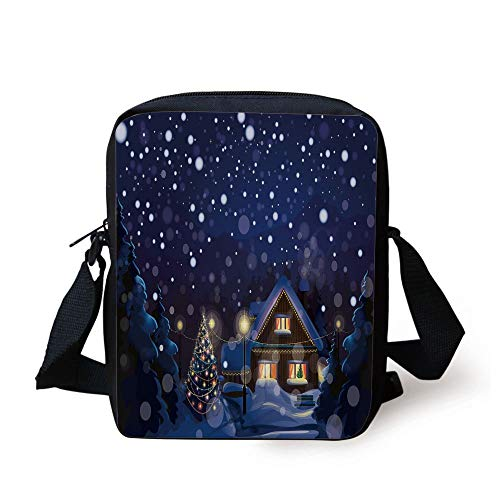 Christmas,Winter Night Country Landscape with Little House Among Pine Trees and Snow,Navy Blue Yellow Print Kids Crossbody Messenger Bag Purse -