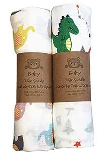 ultraweich Bambusfaser 120 x 120 cm 2 St/ück extra gro/ß Baby Musselin Puckdecke vorgewaschen