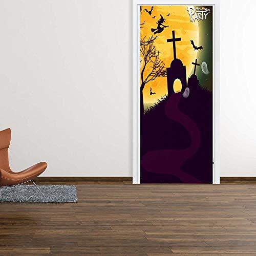 Loui's Home Halloween Grabstein Tür Aufkleber DIY Dekoration 3D Wohnzimmer Schlafzimmer Selbst Aufkleber Wandaufkleber