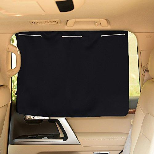 PONY DANCE Sonnenschutz Auto Fenster Vorhang - UV Schutz & Sonnenschutz Kinder Baby Auto Gardinen Verdunkelungsvorhänge Wärmeisolierend, 2 Stücke H 52 x B 70 cm, Schwarz