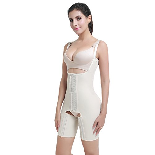 FeelinGirl Damen Miederbody Shaperwear Miederpants Corsage Korsett Schlank Bodysuit Miederhose Top Nude ohne Stäbchen