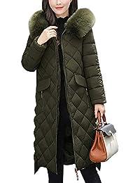 9ee33f5006c5 Damen Lang Daunenmantel Steppmantel Wintermantel Warm Gefüttert Mit Faux  Fur Kapuze
