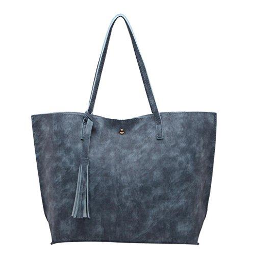 Henkeltaschen damen Kolylong® Frauen Elegant Quasten Handtasche Vintage Schultertasche PU-Leder Groß Shopper Umhängetasche Ledertasche für Mädchen Bag (One Size, Blue) (Handtaschen Blue Hobo)
