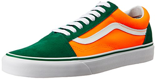 Vans Unisex Old Skool Brite, Verdant Green and Neon Orange Leather Leather Sneakers - 7 UK/India (40.5 EU)