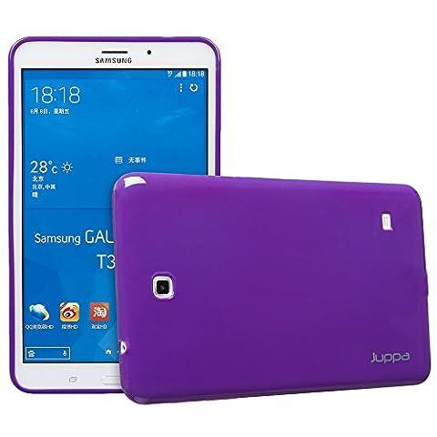 Juppa® Samsung Galaxy Tab 4 8,0 Zoll SM-T330 SM-T331 TPU Gel Silikon Tasche Hülle Schutzhülle mit HD LCD Displayschutz Schutzfolie Folie (Lila / Purple)