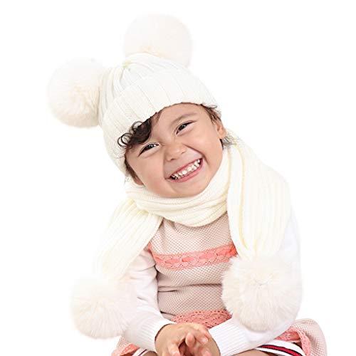 Kleinkind Baby Beanie Mütze und Schal Set Pompon Hairball Warme Winter Strickmütze Mütze Schal Cuffed Skull Cap Schnee Skimütze -